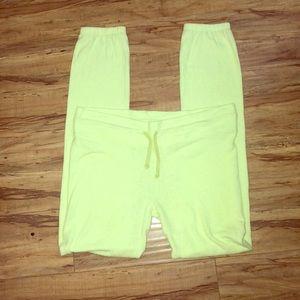 WILDFOX Neon Yellow Malibu Skinny Sweatpants M